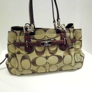 Coach LOGO Khakis large Satchel purse 15X9x5